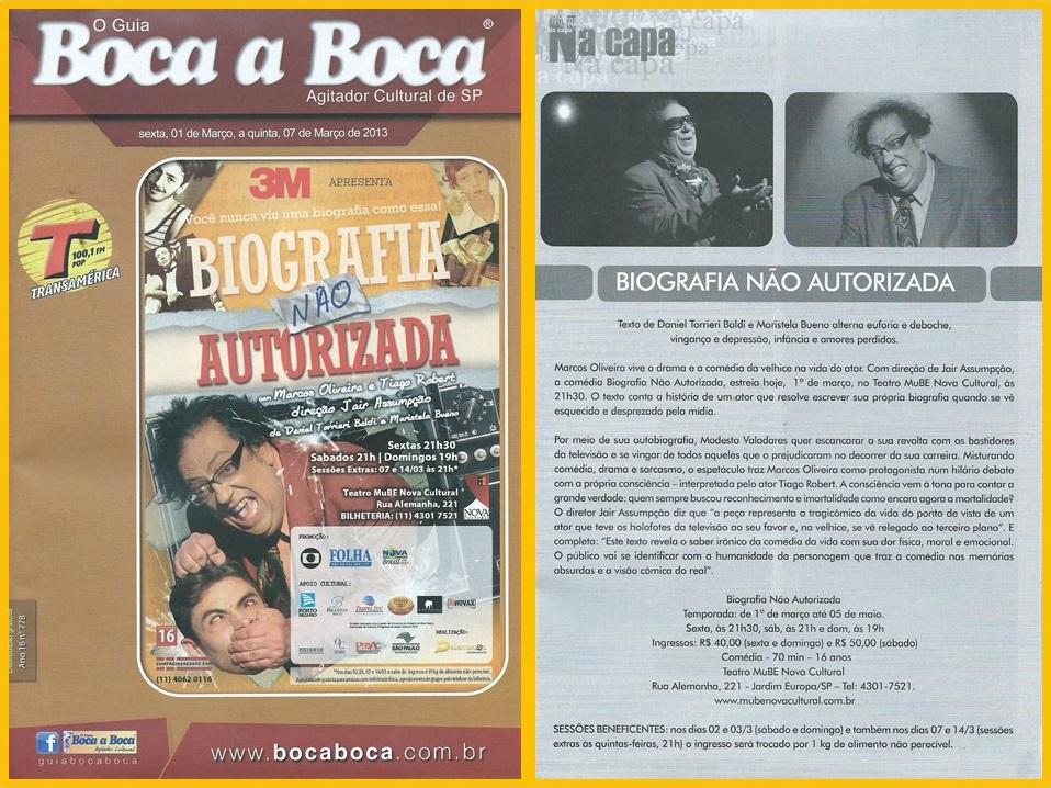 """A peça """"Biografia Não Autorizada"""" é destaque do Guia Boca a Boca."""