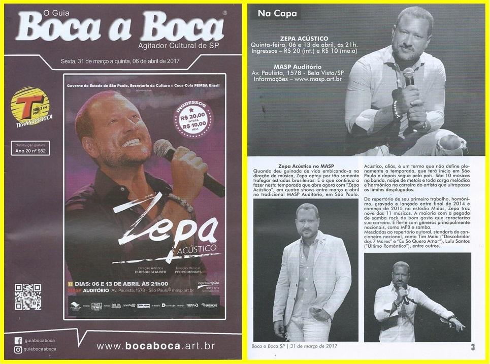 """O show de samba-rock """"Zepa Acústico"""" é destaque do Guia Boca a Boca."""
