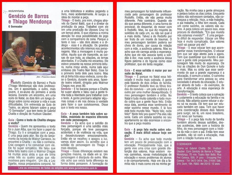 Genezio de Barros e Thiago Mendonça no Guia de Teatro.