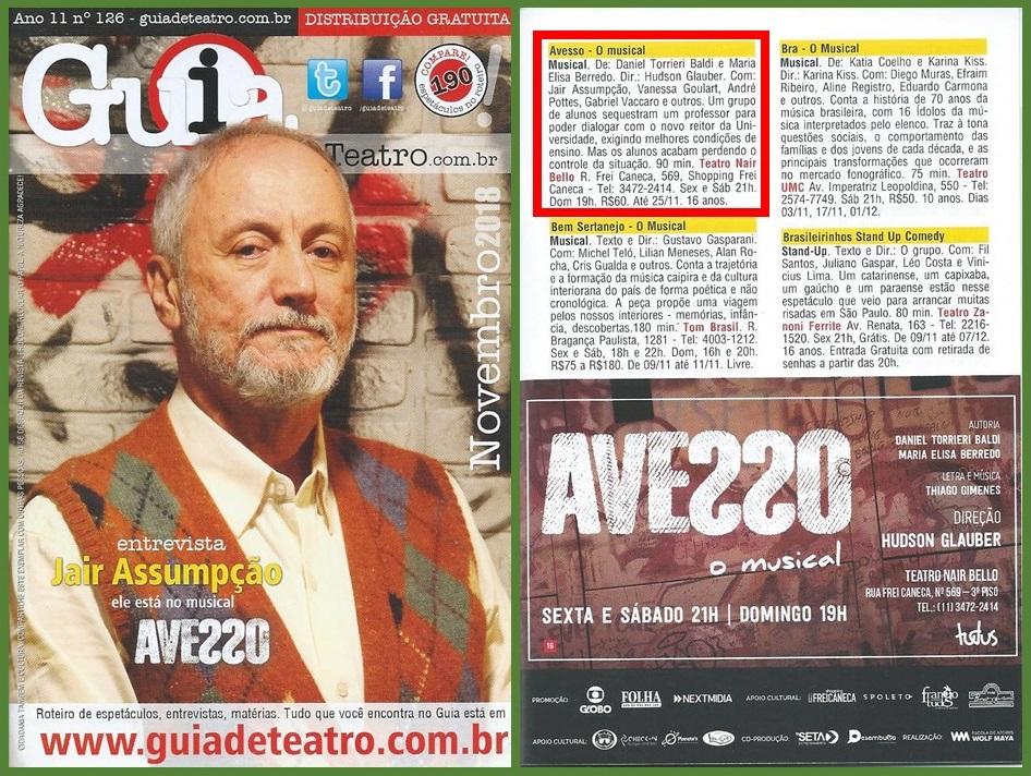 """O ator Jair Assumpção está em cartaz no musical """"Avesso"""" e concedeu entrevista para o Guia de Teatro."""