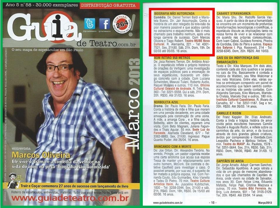 """O ator Marcos Oliveira concedeu uma entrevista para o Guia de Teatro, falando sobre a peça """"Biografia Não Autorizada""""."""