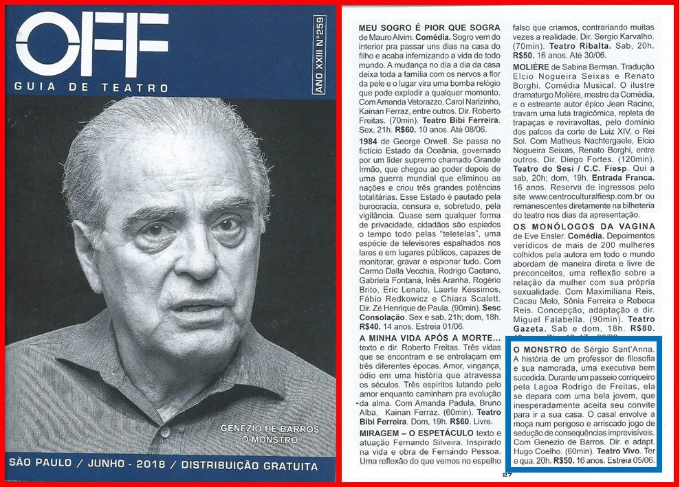 """Genezio de Barros, em cartaz com a peça """"O Monstro"""", é capa do Guia OFF."""
