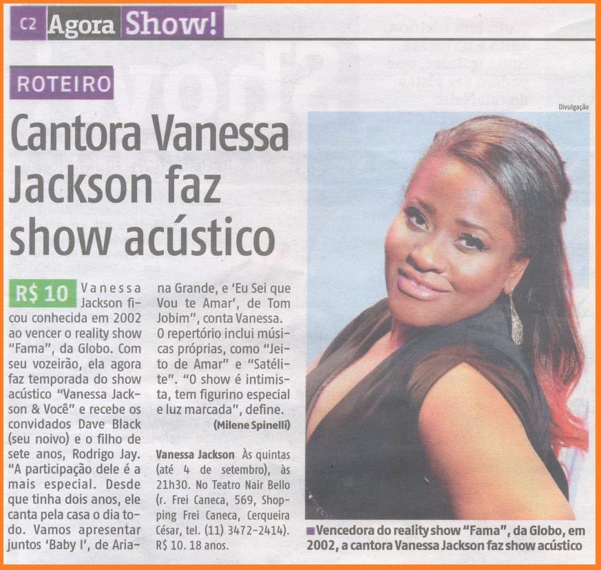 """A cantora Vanessa Jackson participa da terceira edição do projeto """"Cantores & Você""""."""
