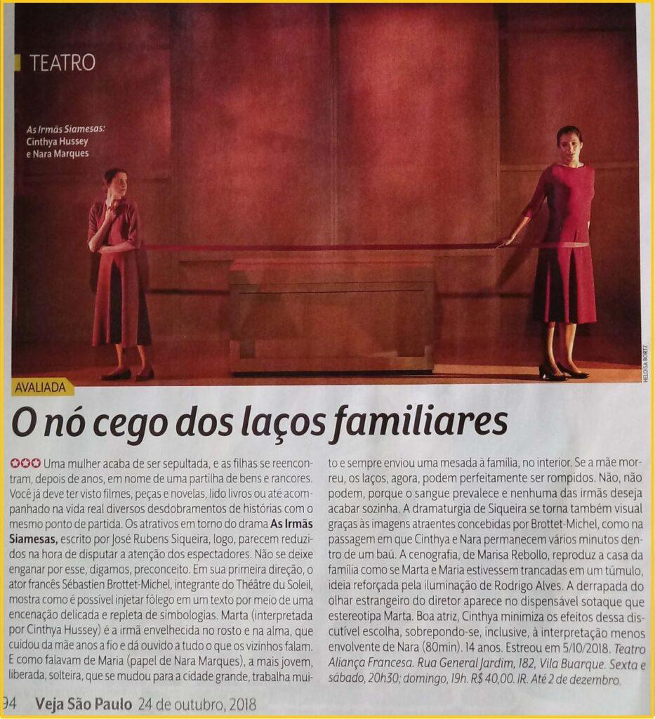 Sebastien Brottet-Michel, integrante do Théâtre du Soleil, dirige texto de José Rubens Siqueira. Ótima crítica da Veja São Paulo.